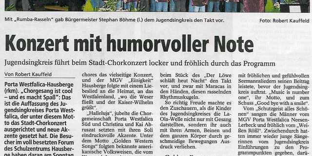 Konzert mit humorvoller Note, Copyright MINDENER TAGEBLATT / MT ONLINE 24. Oktober 2006
